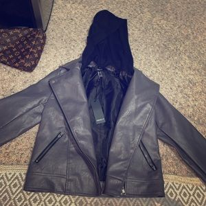 Leather jacket (Grey leather with black hoodie)